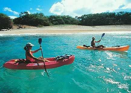 Kayaking in the ocean.