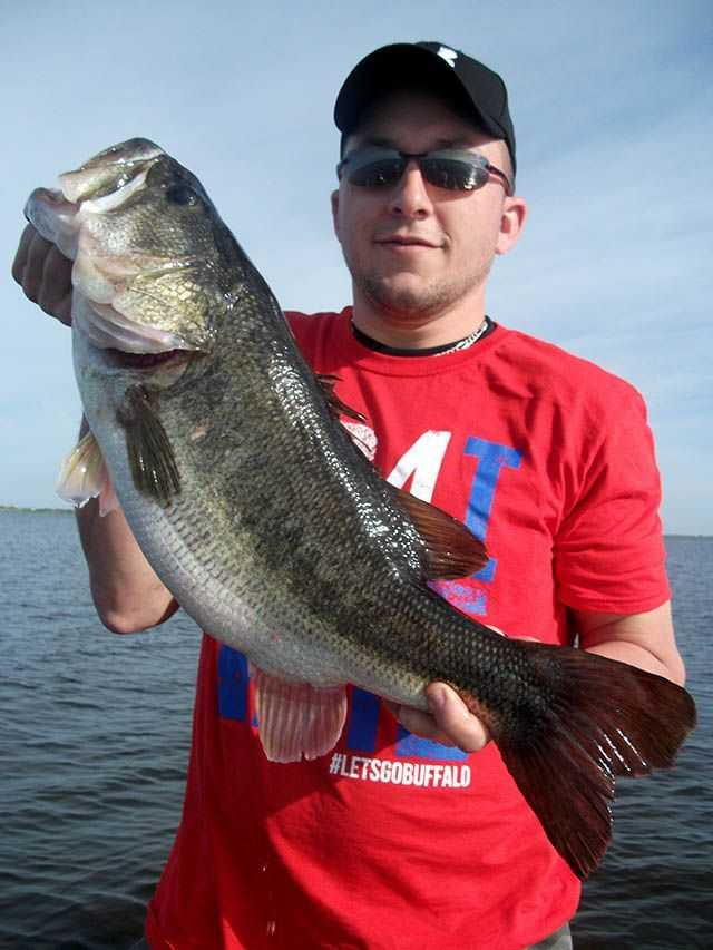 Nate Neubauer from NJ caught a big springtime bass on a wild shiner. PHOTO CREDIT: Capt. Mike Shellen