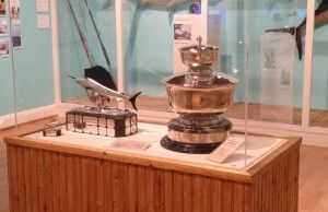 Rea Trophy & miniature on display at museum