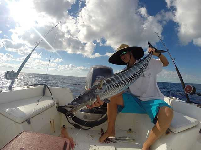 Kai Owen with a wahoo caught in Abaco