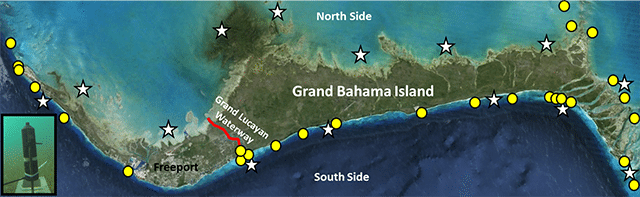 Location of acoustic receivers deployed around Grand Bahama