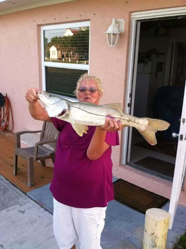 Our friend Lynda Thurman caught this 28-inch snook on a one-ounce silver spoon.  PHOTO PROVIDED by Capt. Joe Ward.