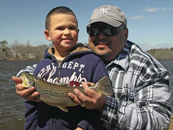 Trout fishing at the Belmont Lake Spring Family Freshwater Fishing Festival.
