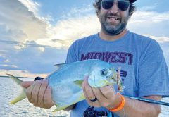 Sight fishing pompano on the flats is so mcuh fun! Dan was a casting guru and these pompano couldn't resist that D.O.A. shrimp!