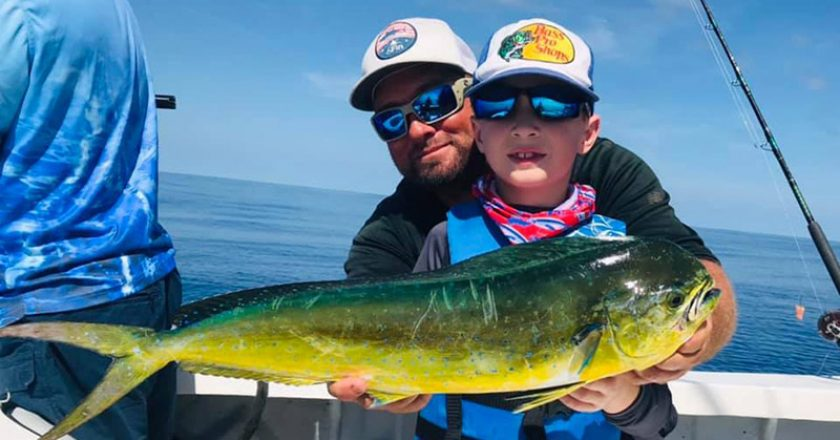 This young guy caught his first mahi ever on the Fire Fight with Capt Joe.