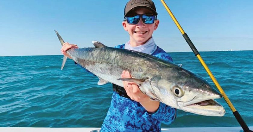 Awesome junior angler had a fun day a few miles out aboard the Fire Fight with Capt. Joe catching hammers, kings—and more!