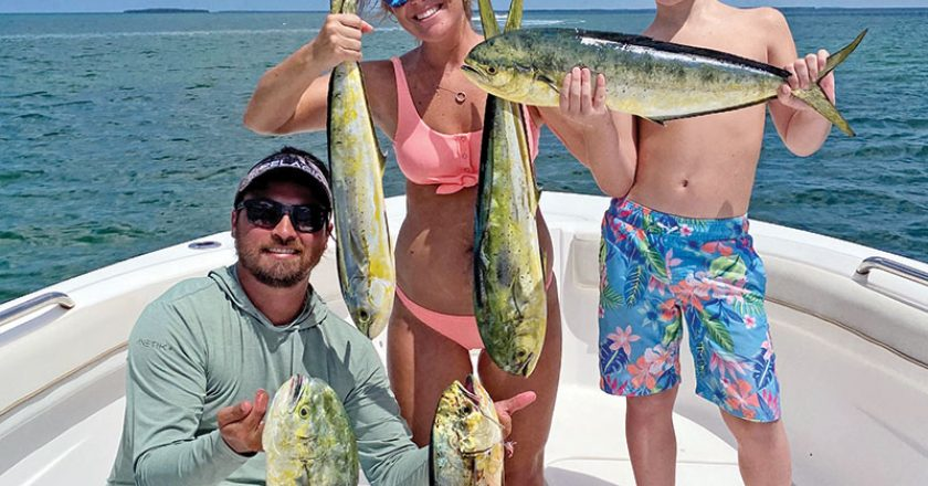 A great day on the water was had by the McQuaig family, who scored a bunch of mahi mahi in Sebastian Inlet by trolling feathers and prerigged ballyhoos in about 500ft. of water.