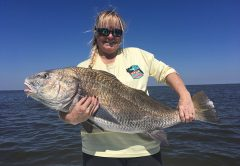 Kyle got this giant black drum on a recent afternoon charter.