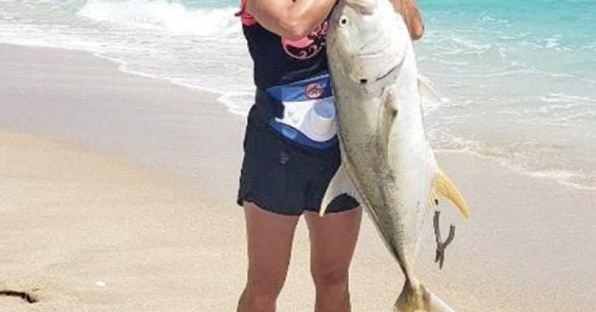 Lyndsie Mustian took this nice jack crevalle out of the Sebastian Inlet surf.