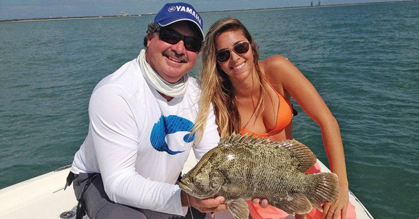 Tripletail snap up live shrimp casted t them as they wait in ambush near floating debris outside of Port Canveral.