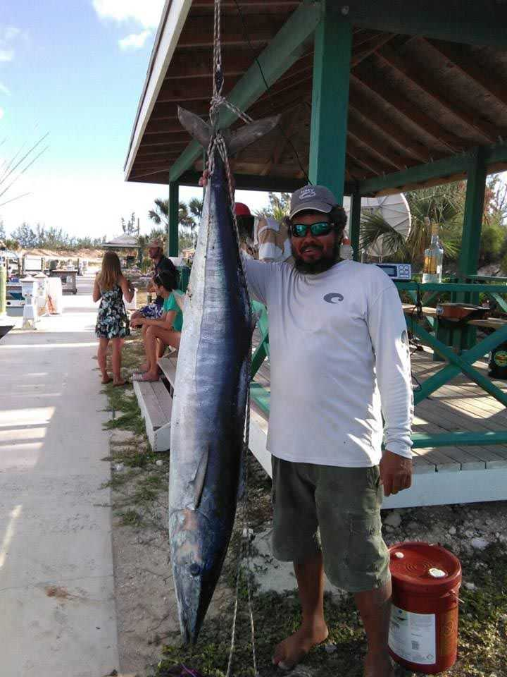 Capt. Adrian Cartwright with a respectable San Sal wahoo weighed in at Riding Rock Resort and Marina. Photo supplied by Capt. Adrian Cartwright.
