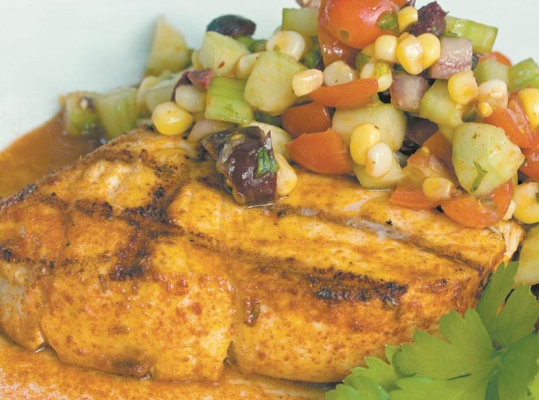 cHarissa Spiced Fish With Mediterranean Relish