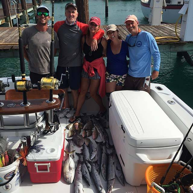 Nice catch of bottom fish caught off West End, Grand Bahama on Duchess by anglers Dr. Jim Strauss, friends, mate Glen, and Capt Billy Black. PHOTO CREDIT: Capt. Billy Black.