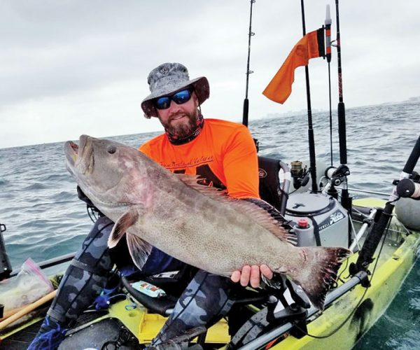 Shaun Roles scored a solid black grouper from his new lucky kayak on the last day of the season.