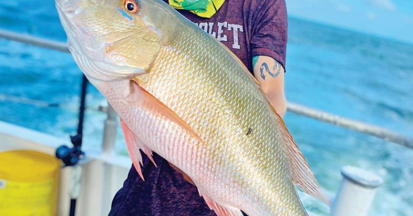 Solid mutton snapper caught aboard the Catch My Drift.