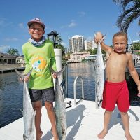 Jackson and Kellen caught some nice kingfish with their dad.