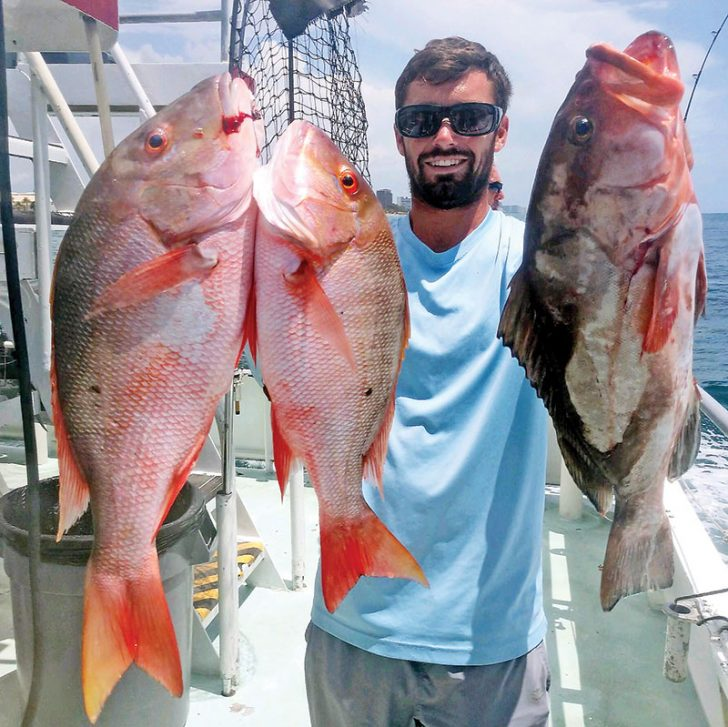 Solid mutton snappers and nice red grouper caught aboard the Catch My Drift.