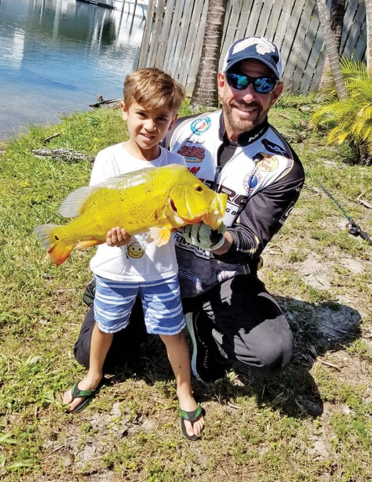 Brayden caught his first peacock bass with Capt. Neal.
