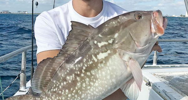 Frank with a nice red grouper aboard the Catch My Drift.