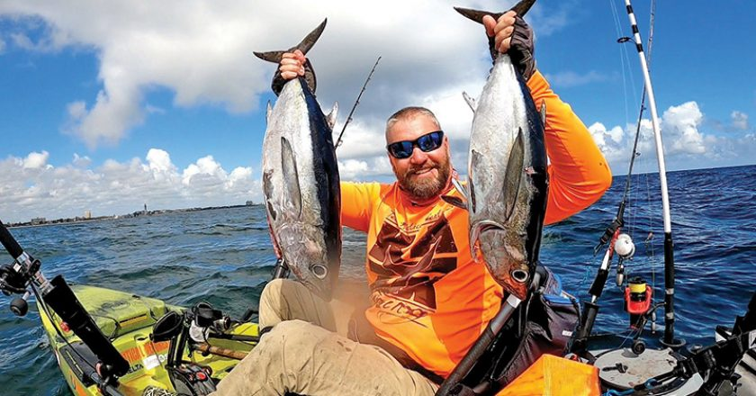 Shaun Roles caught twin tunas on the slow pitch from his kayak.