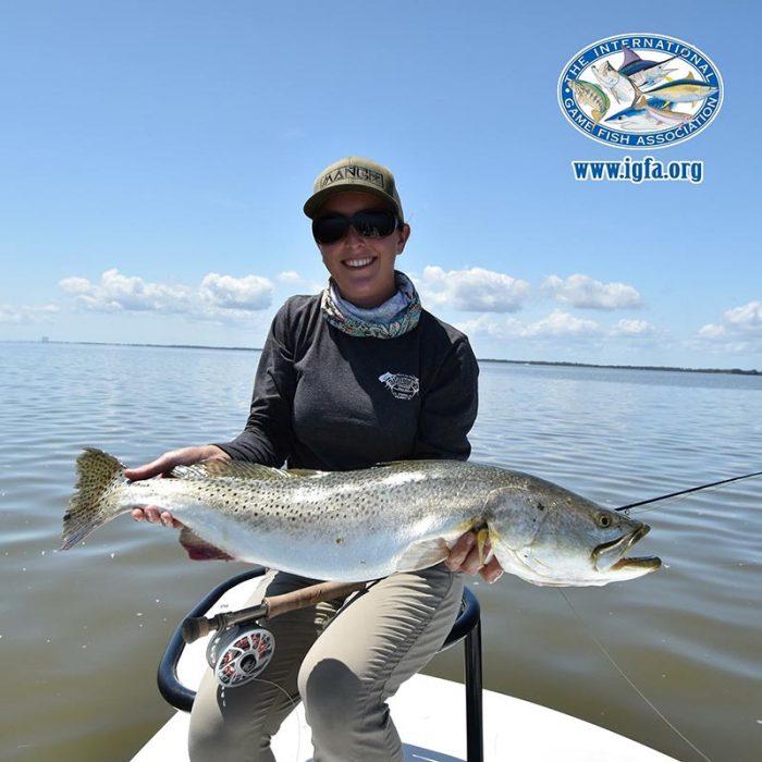 Amanda Bottenberg with her world record gator trout. Photo courtesy of Amanda Bottenberg/IGFA.