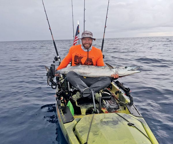 Shaun Roles scored a solid wahoo on a live gog in 250 feet off Pompano Beach.