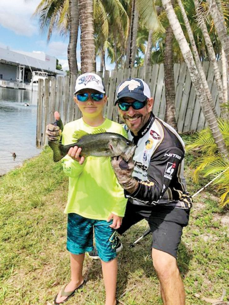 Capt. Neal helped Max dial in on this largemouth bass.