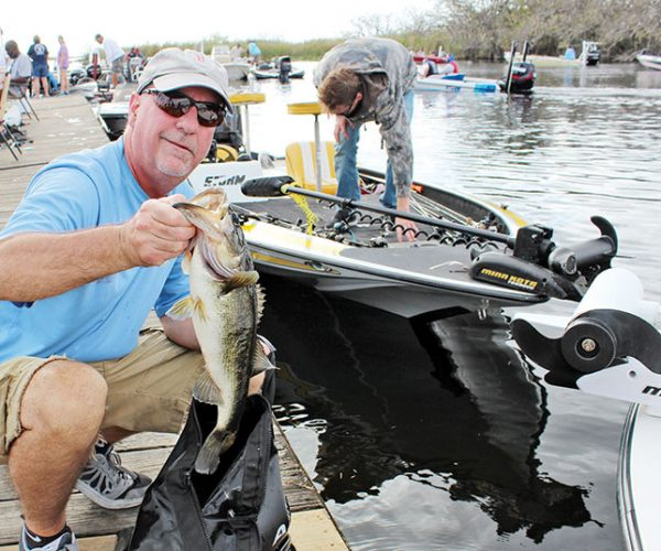 Patrick Hammill released his limit of bass after weigh in at the King of the Glades.