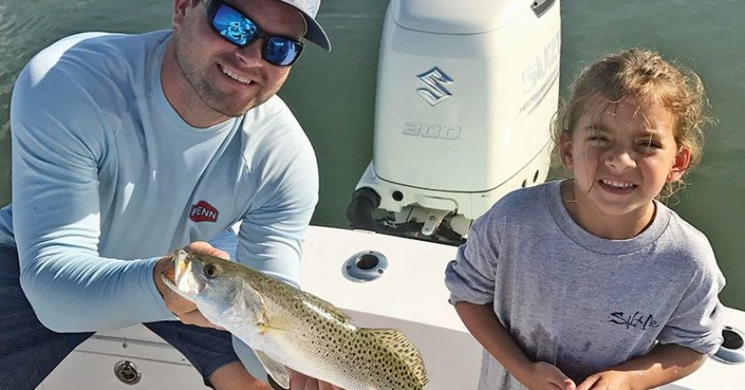 Capt. Ryan put this junior angler on her first seatrout.