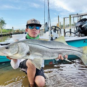 Mateo Burrell aka @mb_snookin with a slob of a snook.