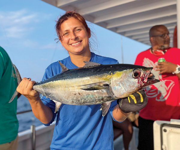 Good eating blackfin tuna caught aboard the Catch My Drift.