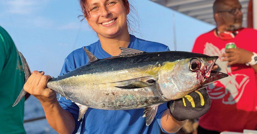 Good eating blackfin tuna caught aboard the Catch My Drift.