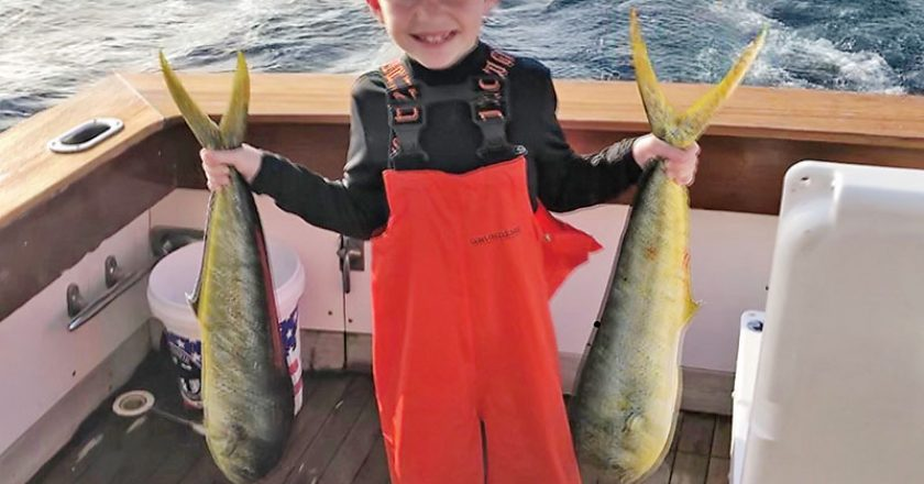 Seven year old Riley Rush doing work off Deerfield Beach aboard Poseiden Too!