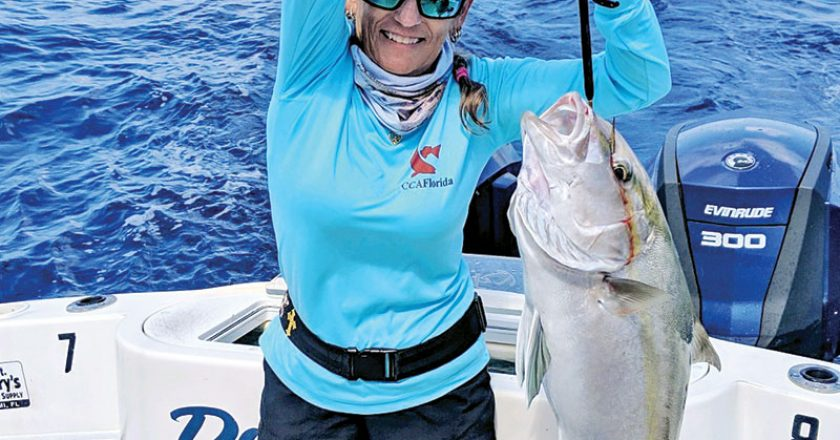 Robyn Naber slayed this amberjack while fishing aboard Bouncer's Dusky 33.