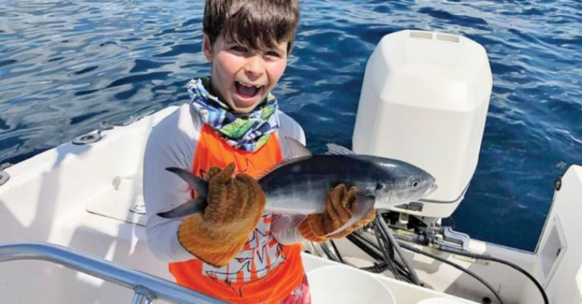 7 year old Lucas caught this blue runner while fishing with his uncle Joe out of Pompano Beach.