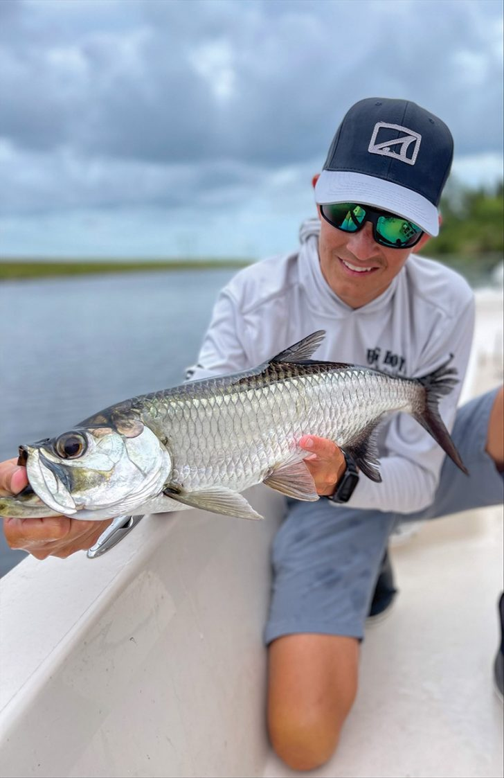 Capt. Johnny Stabile with a beautiful freshwater tarpon.