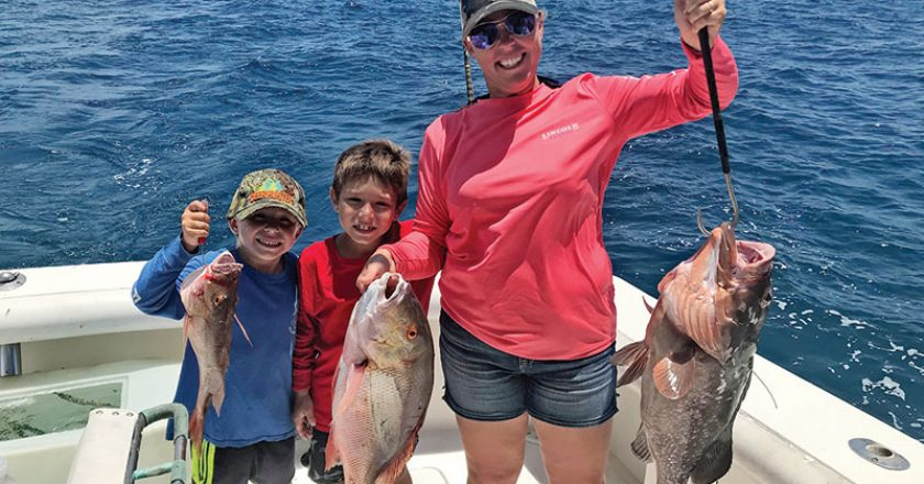 Katie, Mason and Owen with a good bottom fishing catch with Fishing Headquarters