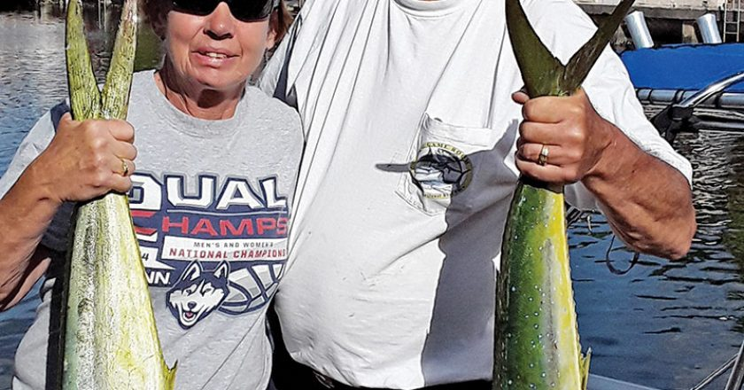 Rit Forcier and his wife Paula scored a few mahi for dinner off Hallandale.