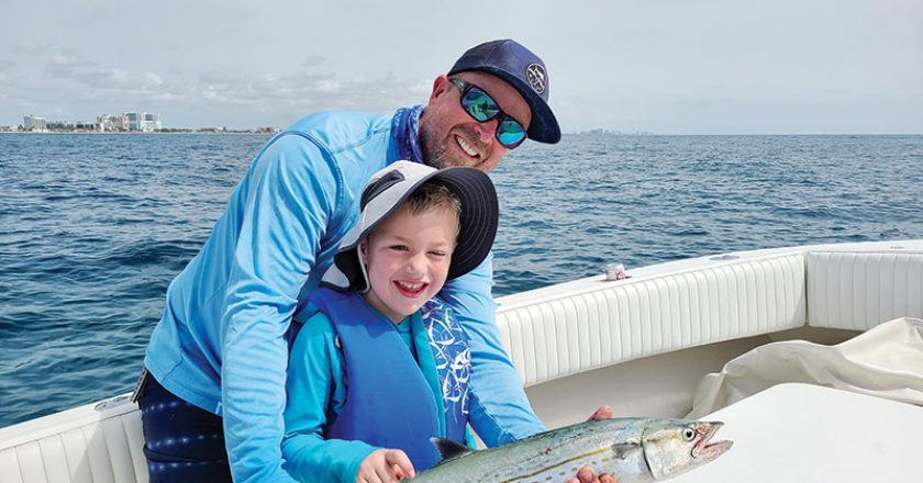 Five year old Jacob caught this cero mackerel with the help of his Uncle Ryan.