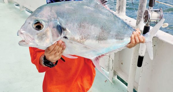 This kiddo caught a very rare African Pompano aboard the Catch My Drift.