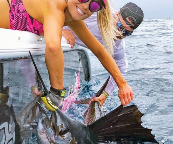 Capt. Mark DiDario of Father and Son Sportfishing put Allison Renn from Jacksonville on her first sailfish.