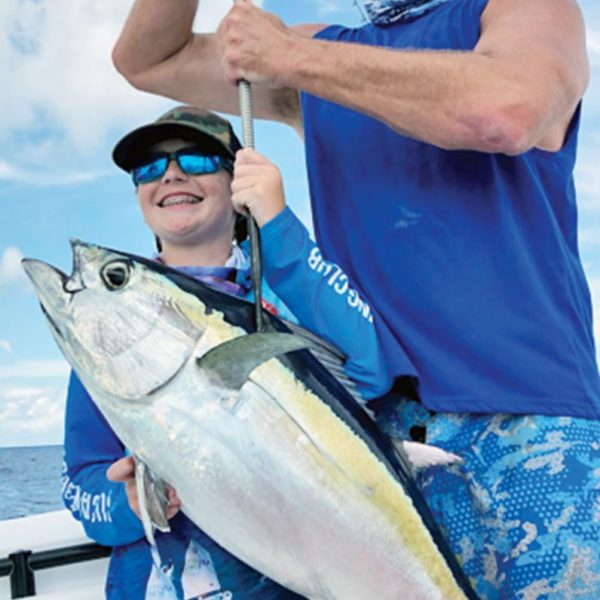 Finn Wilkening, 12, caught this 25 pound blackfin tuna to secure 3rd place overall and top Junior Angler in a local club tournament.