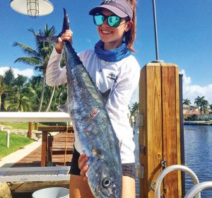 Erin McMenemy slayed this kingfish off Deerfield Beach using a live blue runner.
