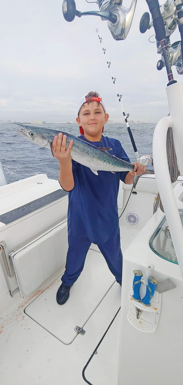 9 year old Riley Hermiz caught this kingfish while fishing with Capt. Will Howard of @ftlauderdaleoffshore