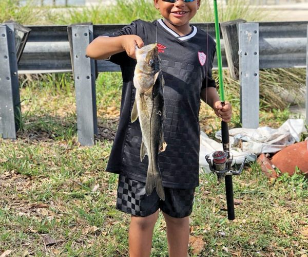 Six year old Sandro caught his personal best freshwater snook on a live shiner.