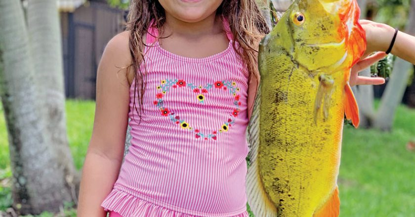 Six year old Sophia Dalton caught her first peacock bass while fishing with her Aunt Michelle.