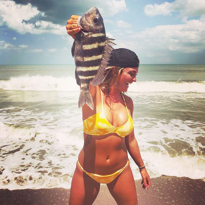 This beauty caught a sweet sheepshead while surf fishing with Capt. Lukas Brickweg.
