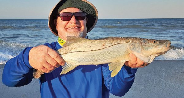 Beautiful beach snook caught on sand fleas.