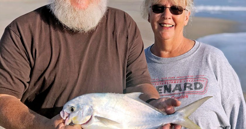 Surf fishing for pompano pretty much always provides excitement and happiness.