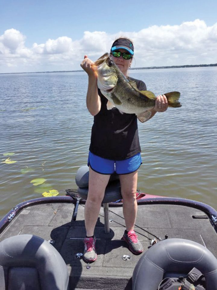 This 9.8 pound largemouth bass was hooked on a Texas rigged plastic worm.